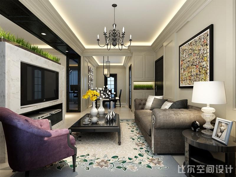 白色简欧风格三室二厅设计方案1